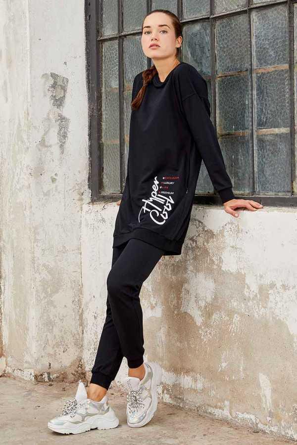 Tommy Life Toptan Lacivert Kadın O Yaka Nakışlı Rahat Form Jogger Eşofman Tunik Takım-95235_01