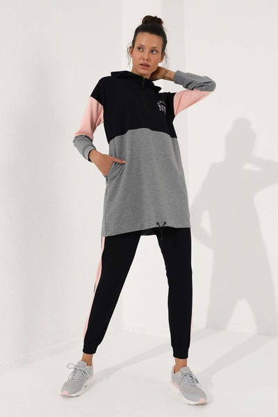Tommy Life Toptan Lacivert Kadın Yarım Fermuar Cepli Rahat Form Jogger Eşofman Tunik Takım-95249 - Thumbnail