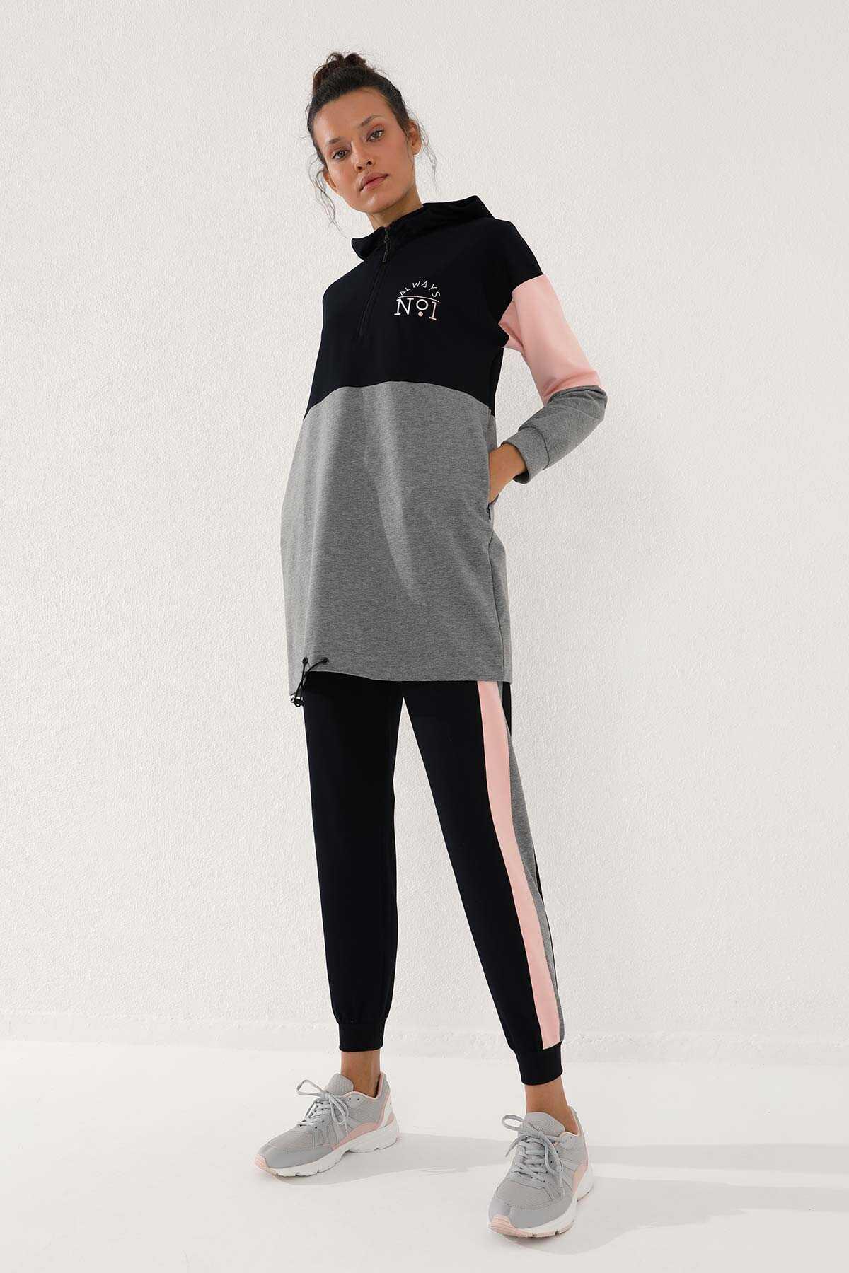 Tommy Life Toptan Lacivert Kadın Yarım Fermuar Cepli Rahat Form Jogger Eşofman Tunik Takım-95249