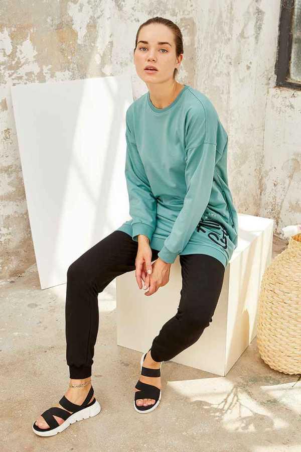 Tommy Life Toptan Mint Yeşil-Siyah Kadın O Yaka Nakışlı Rahat Form Jogger Eşofman Tunik Takım-95235_01