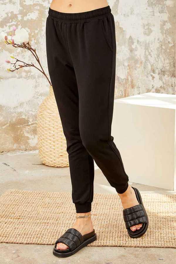Tommy Life Toptan Mor-Siyah Kadın O Yaka Nakışlı Rahat Form Jogger Eşofman Tunik Takım-95235_01