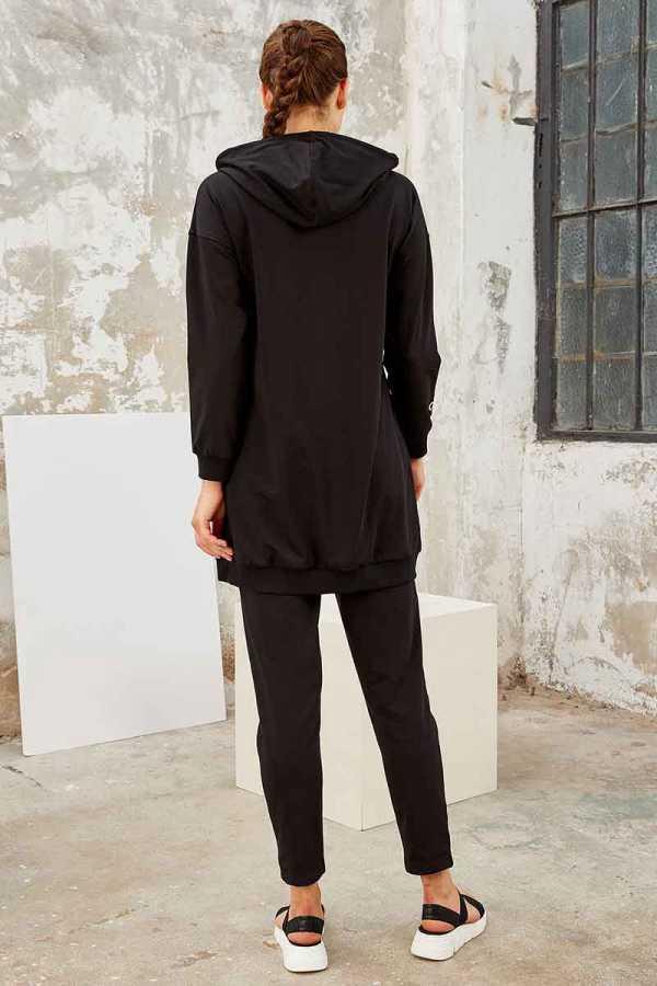 Tommy Life Toptan Siyah-Siyah Kadın Kapüşonlu Yazı Nakışlı Rahat Form Dar Paça Eşofman Tunik Takım-95246