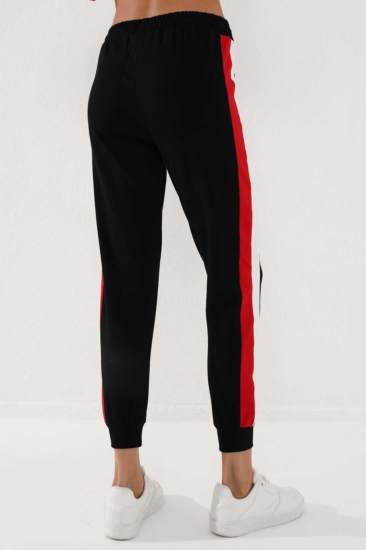 Tommy Life Toptan Siyah-Siyah Kadın Yarım Fermuar Cepli Rahat Form Jogger Eşofman Tunik Takım-95249