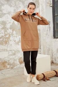 Tommy Life Toptan Toprak-Siyah Kadın Kapüşonlu Yazı Nakışlı Rahat Form Dar Paça Eşofman Tunik Takım-95246 - Thumbnail
