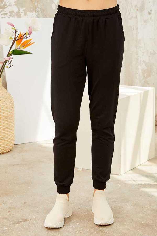 Tommy Life Toptan Toprak-Siyah Kadın O Yaka Nakışlı Rahat Form Jogger Eşofman Tunik Takım-95235_01