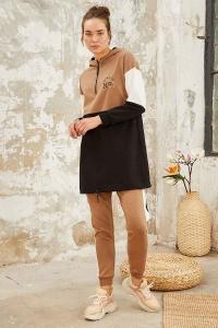 Tommy Life Toptan Üç Renk Garnili Kapüşonlu Toprak-Toprak Kadın Tunik Takım - Thumbnail