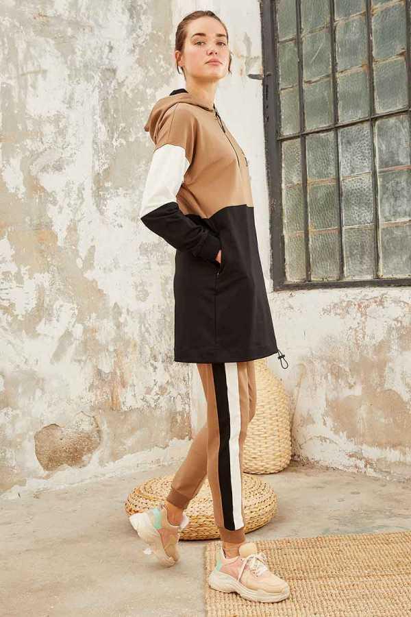Tommy Life Toptan Üç Renk Garnili Kapüşonlu Toprak-Toprak Kadın Tunik Takım