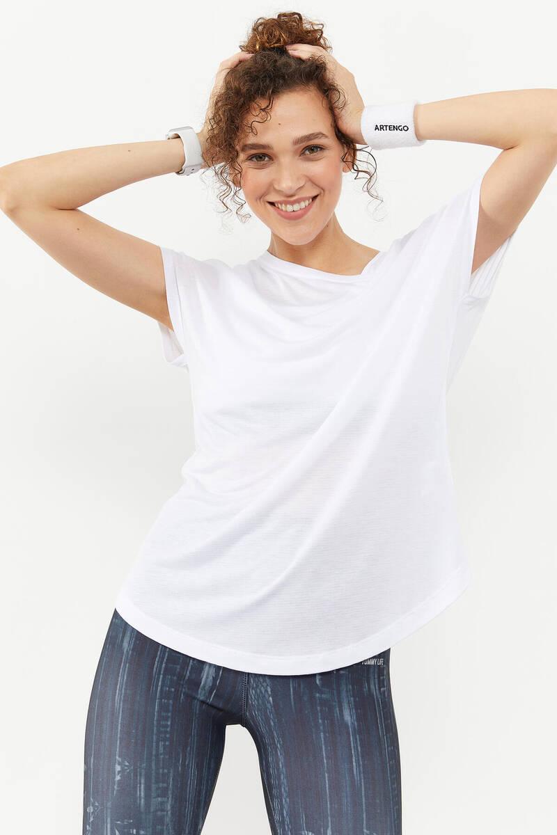 TommyLife - Tommy Life Toptan Beyaz Kadın Basic Kısa Kol Rahat Form O Yaka T-Shirt - 97151