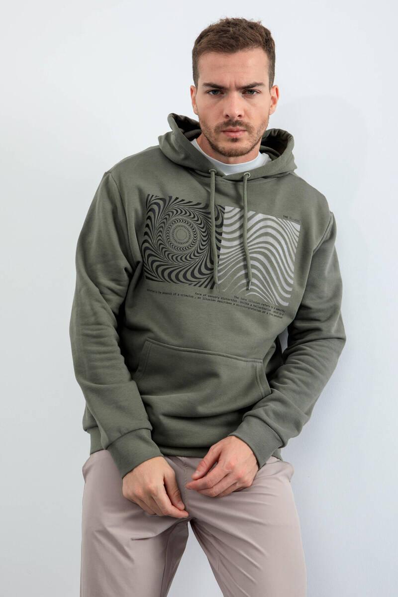 TommyLife - Tommy Life Toptan Çağla Erkek Desen Baskılı Kapüşonlu Rahat Form Sweatshirt - 88030