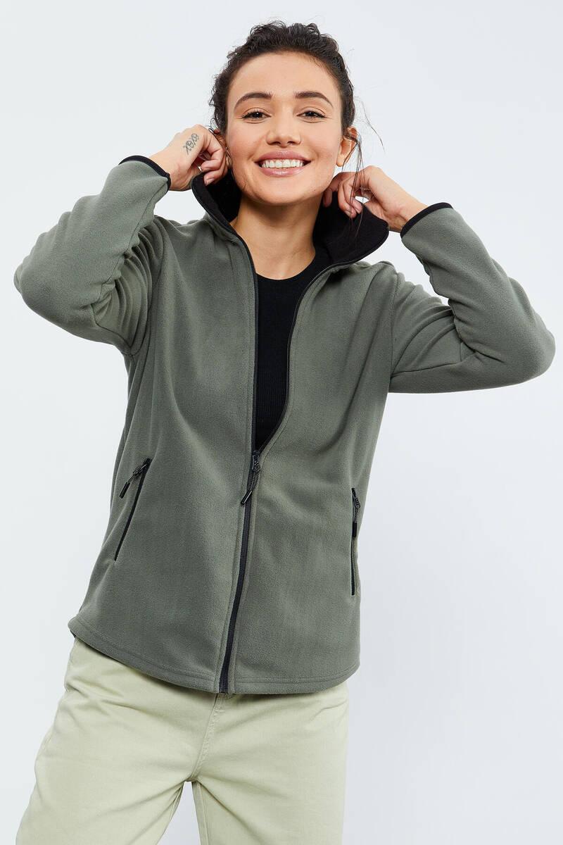 TommyLife - Tommy Life Toptan Çağla Kadın Dik Yaka Fermuarlı Rahat Form Polar Sweatshirt - 97173