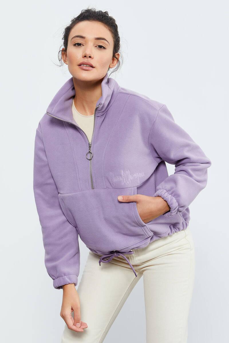 TommyLife - Tommy Life Toptan Eflatun Kadın Yarım Fermuar Etek Ucu Büzgülü Oversize Polar Sweatshirt - 97171
