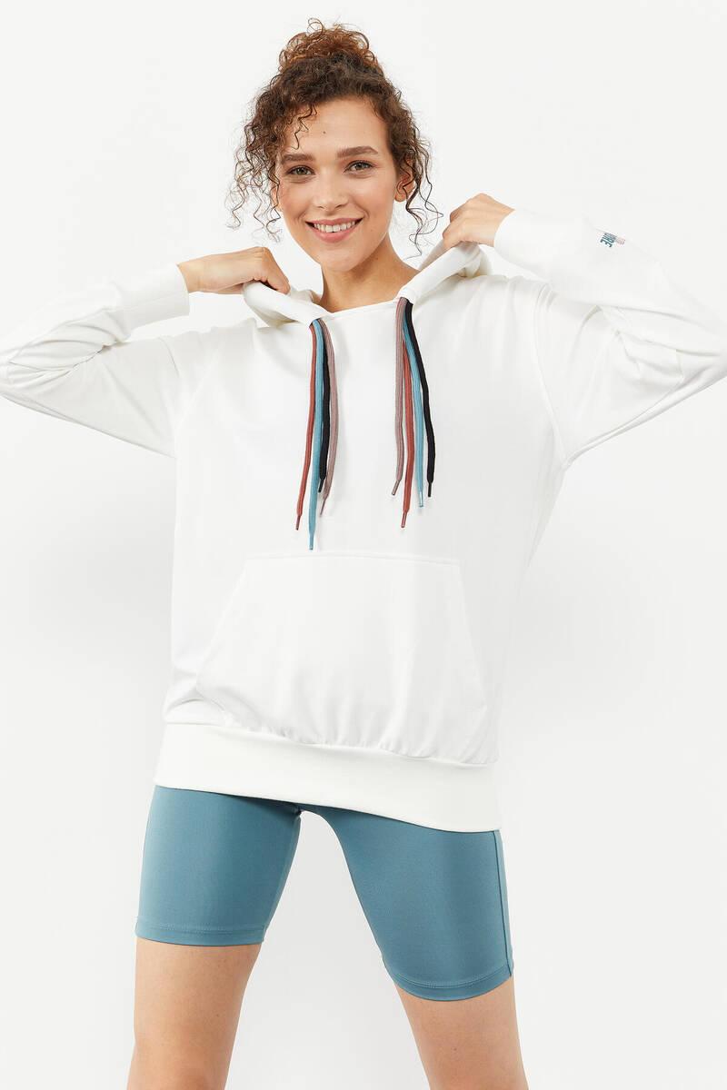TommyLife - Tommy Life Toptan Ekru Kadın Dört Renk Bağcıklı Oversize Sweatshirt - 97157