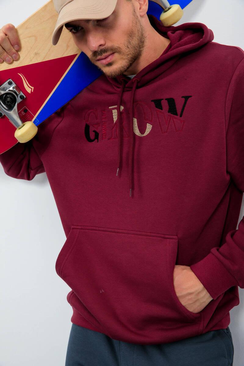 TommyLife - Tommy Life Toptan Erguvan Erkek Grow Yazı Nakışlı Kapüşonlu Rahat Form Sweatshirt - 88040