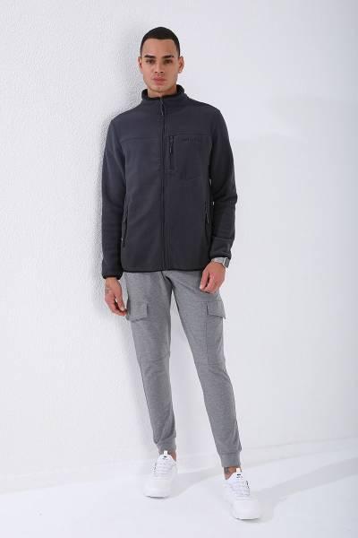 TommyLife - Tommy Life Toptan Antrasit Erkek Cepli Fermuarlı Sweatshirt Slim Fit Dik Yaka Polar-87890