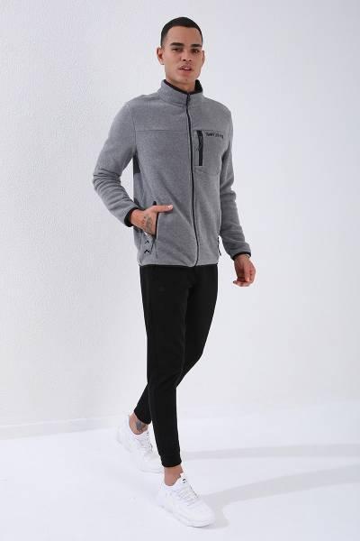 TommyLife - Tommy Life Toptan Gri Melanj Erkek Cepli Fermuarlı Sweatshirt Slim Fit Dik Yaka Polar-87890