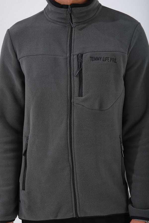 Tommy Life Toptan Dik Yaka Polar Haki Cep Detaylı Erkek Sweatshirt