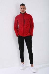 TommyLife - Tommy Life Toptan Dik Yaka Polar Kırmızı Cep Detaylı Erkek Sweatshirt