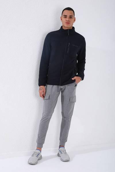 TommyLife - Tommy Life Toptan Lacivert Erkek Cepli Fermuarlı Sweatshirt Slim Fit Dik Yaka Polar-87890
