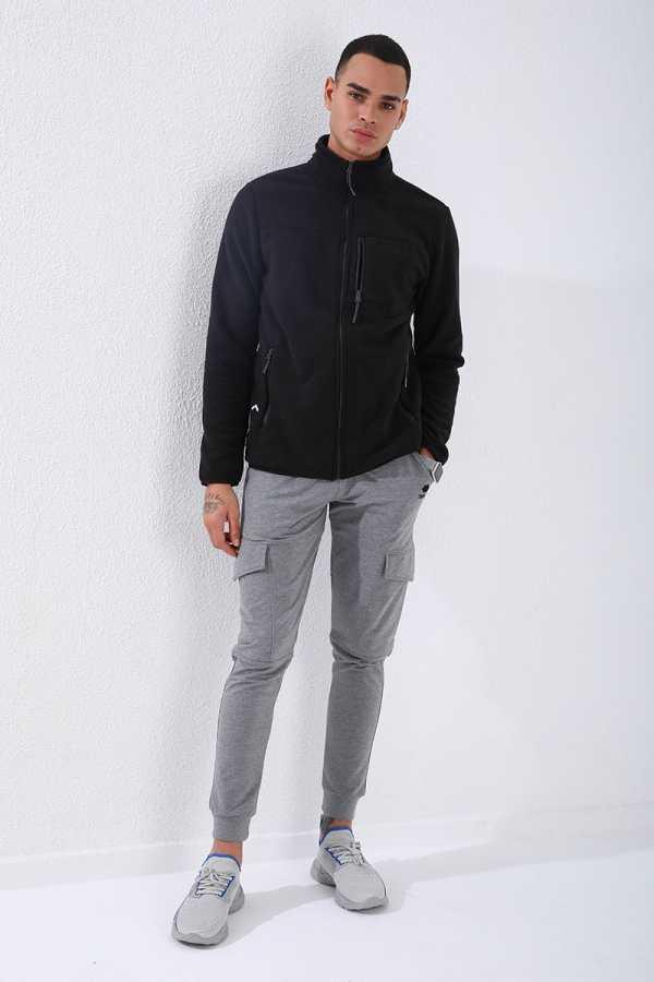 Tommy Life Toptan Dik Yaka Polar Siyah Cep Detaylı Erkek Sweatshirt