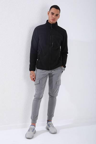 TommyLife - Tommy Life Toptan Siyah Erkek Cepli Fermuarlı Sweatshirt Slim Fit Dik Yaka Polar-87890