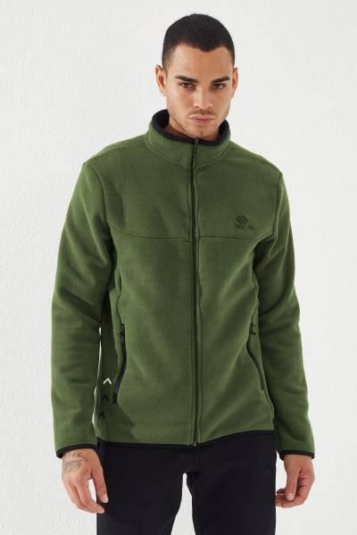 TommyLife - Tommy Life Toptan Dik Yaka Polar Yeşil Fermuarlı Erkek Sweatshirt