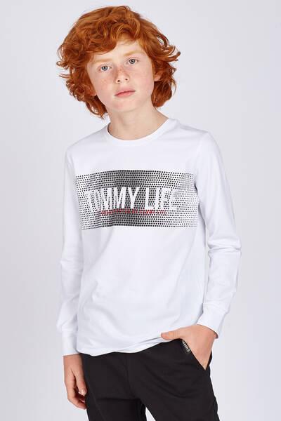 TommyLife - Tommy Life Toptan Beyaz Erkek Çocuk Baskılı Uzun Kol Dar Kalıp O Yaka Sweatshirt-10512_01