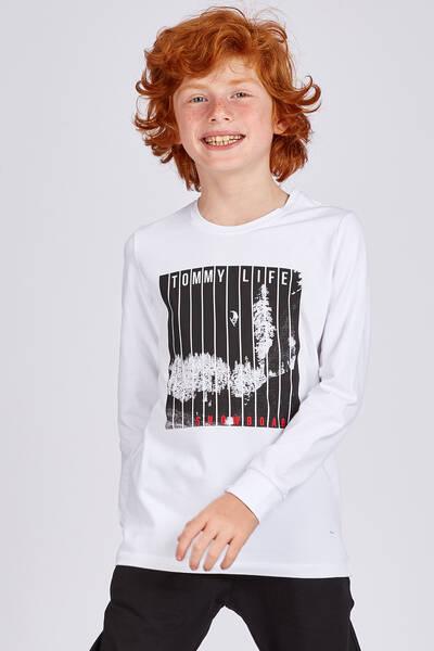 TommyLife - Tommy Life Toptan Beyaz Erkek Çocuk Snowboard Baskılı Dar Kalıp O Yaka Sweatshirt-10518_01