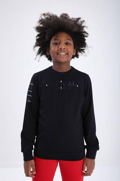 TommyLife - Tommy Life Toptan Lacivert Erkek Çocuk Yazı Nakışlı Dar Kesim O Yaka Sweatshirt