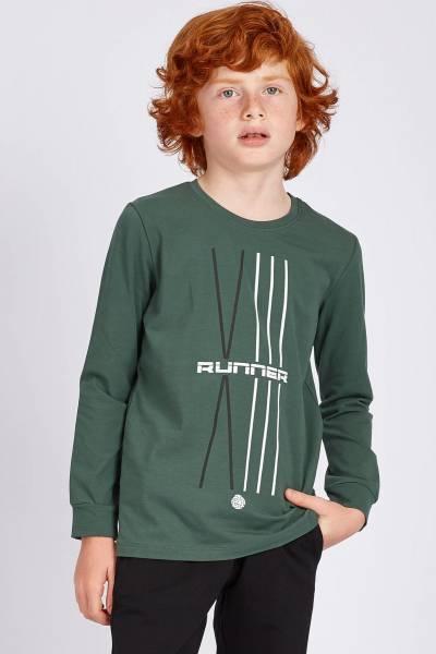 TommyLife - Tommy Life Toptan Yeşil Erkek Çocuk Baskılı Uzun Kol Dar Kalıp O Yaka Sweatshirt-10515_01