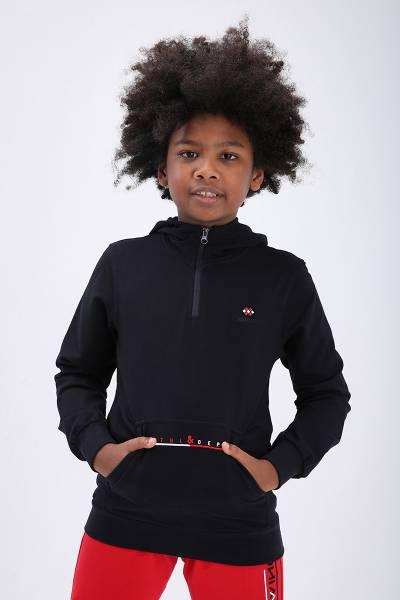 TommyLife - Tommy Life Toptan Lacivert Çocuk Yarım Fermuar Dar Kesim Kapüşonlu Sweatshirt