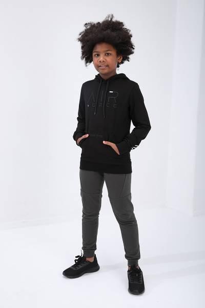 TommyLife - Tommy Life Toptan Siyah Çocuk Air Force Yazı Nakışlı Dar Kesim Kapüşonlu Sweatshirt