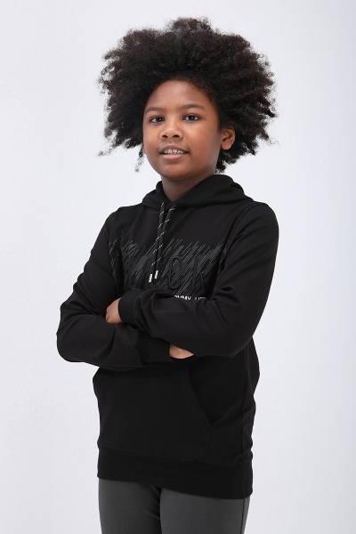 TommyLife - Tommy Life Toptan Siyah Erkek Çocuk Göğüs Baskılı Dar Kesim Kapüşonlu Sweatshirt