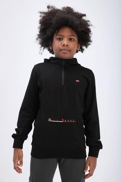 TommyLife - Tommy Life Toptan Siyah Çocuk Yarım Fermuar Dar Kesim Kapüşonlu Sweatshirt