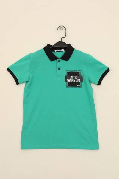 TommyLife - Tommy Life Toptan Açık Yeşil Erkek Çocuk Baskılı Kısa Kol Dar Kesim Polo Yaka T-Shirt-10539