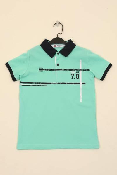 TommyLife - Tommy Life Toptan Açık Yeşil Erkek Çocuk Baskılı Kısa Kol Dar Kalıp Polo Yaka T-Shirt-10551
