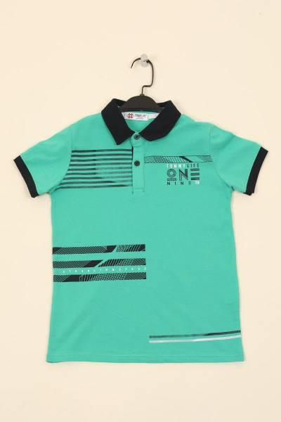 TommyLife - Tommy Life Toptan Açık Yeşil Çocuk Göğüs Baskılı Dar Kesim Polo Yaka T-Shirt