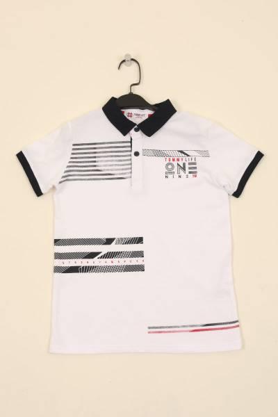 TommyLife - Tommy Life Toptan Beyaz Erkek Çocuk Göğüs Baskılı Dar Kalıp Polo Yaka T-Shirt-10617_1