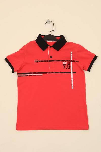 TommyLife - Tommy Life Toptan Coral Erkek Çocuk Baskılı Kısa Kol Dar Kalıp Polo Yaka T-Shirt-10551