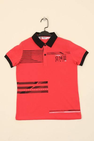TommyLife - Tommy Life Toptan Coral Çocuk Göğüs Baskılı Dar Kesim Polo Yaka T-Shirt