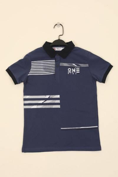 TommyLife - Tommy Life Toptan İndigo Çocuk Göğüs Baskılı Dar Kesim Polo Yaka T-Shirt