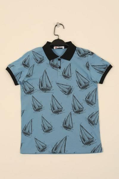 TommyLife - Tommy Life Toptan Kirli Mavi Çocuk Yelken Baskılı Dar Kesim Polo Yaka T-Shirt-10528