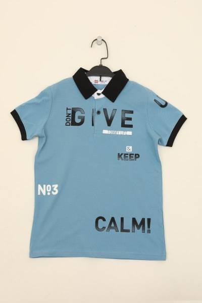TommyLife - Tommy Life Toptan Kirli Mavi Erkek Çocuk Yazı Baskılı Dar Kalıp Polo Yaka T-Shirt-10546