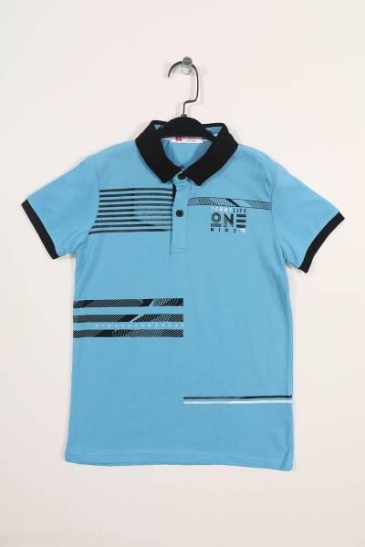 TommyLife - Tommy Life Toptan Kirli Mavi Çocuk Göğüs Baskılı Dar Kesim Polo Yaka T-Shirt