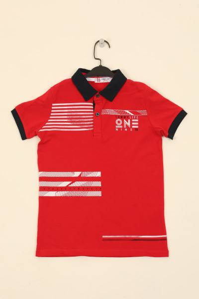 TommyLife - Tommy Life Toptan Kırmızı Çocuk Göğüs Baskılı Dar Kesim Polo Yaka T-Shirt