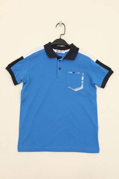 TommyLife - Tommy Life Toptan Saks Erkek Çocuk Cepli Nakış Detaylı Dar Kalıp Polo Yaka T-Shirt-10549