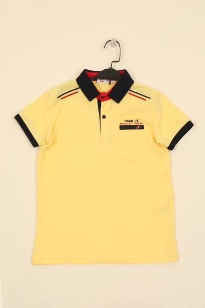 TommyLife - Tommy Life Toptan Sarı Çocuk Omuz Nakışlı Dar Kesim Polo Yaka T-Shirt