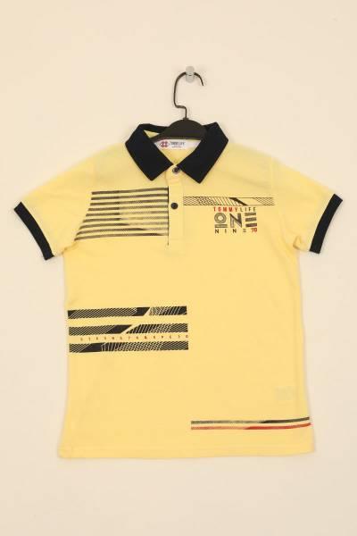 TommyLife - Tommy Life Toptan Sarı Çocuk Göğüs Baskılı Dar Kesim Polo Yaka T-Shirt-10617_1