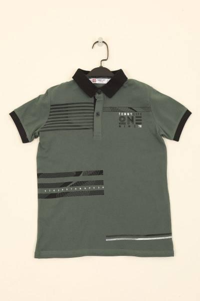 TommyLife - Tommy Life Toptan Yeşil Çocuk Göğüs Baskılı Dar Kesim Polo Yaka T-Shirt
