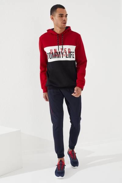 TommyLife - Tommy Life Toptan Nakışlı Lacivert Manşetli Erkek Eşofman Alt