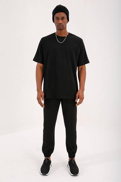 TommyLife - Tommy Life Toptan Siyah Erkek Çizgili Cepli Jogger Rahat Form Lastik Paça Eşofman Alt - 84816